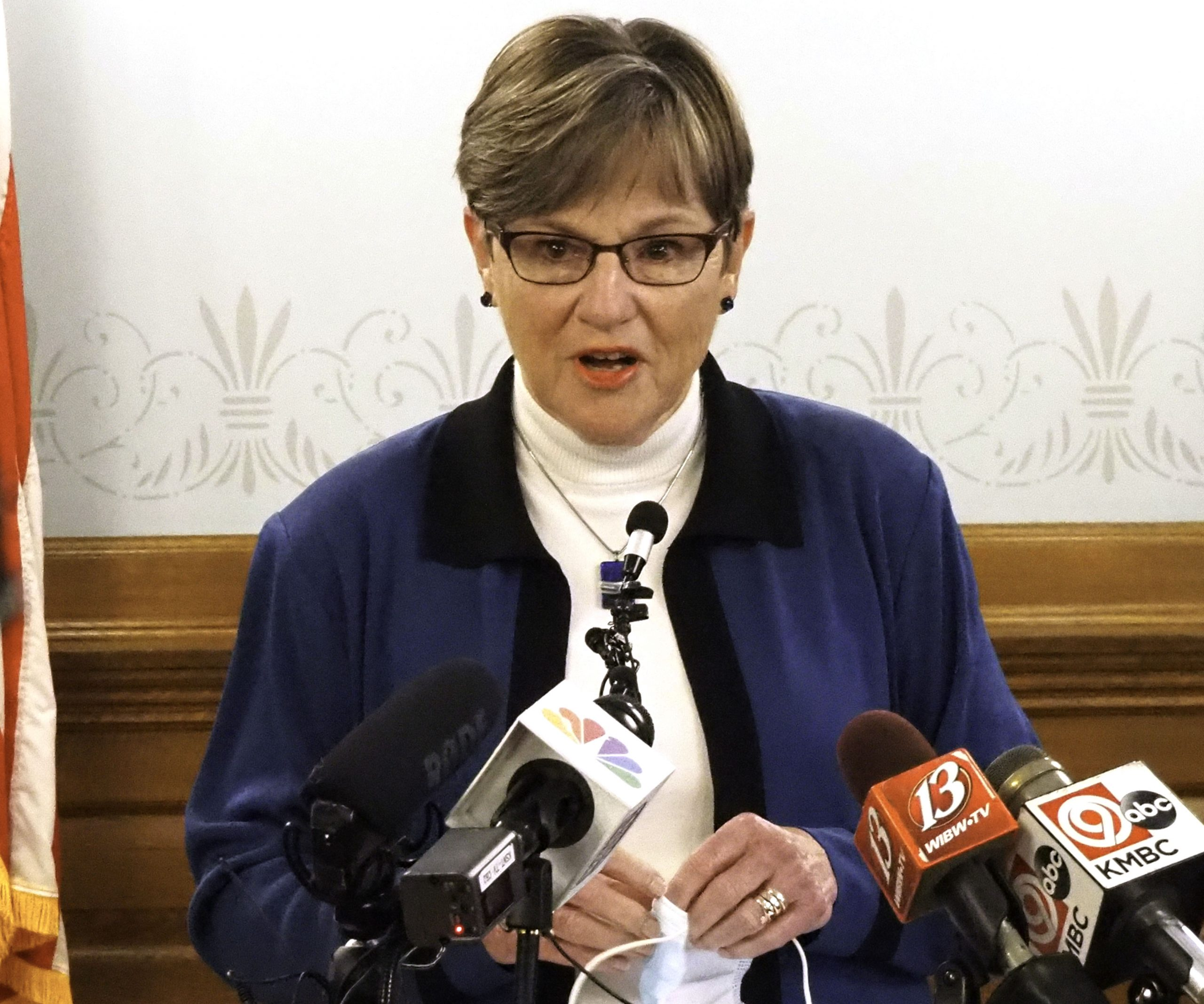 Gov. Laura Kelly said Wednesday she extended an executive order allowing people under age 65 to apply for driver's license renewals online. (Sherman Smith/Kansas Reflector)