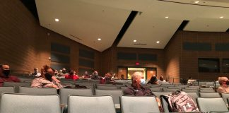 Social distancing is practiced in this July 22 meeting at Salina High South to to plan the reopening of the Salina school district. (Salina Public Schools)