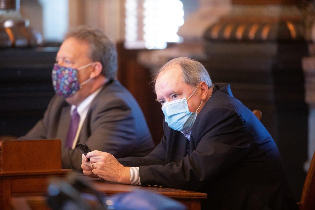 Senate Minority Leader Anthony Hensley, right, a Topeka Democrat. wamts the Kansas Legislature to upgrade its software system for handling bills during the annual legislative sessions. (Kansas Reflector)