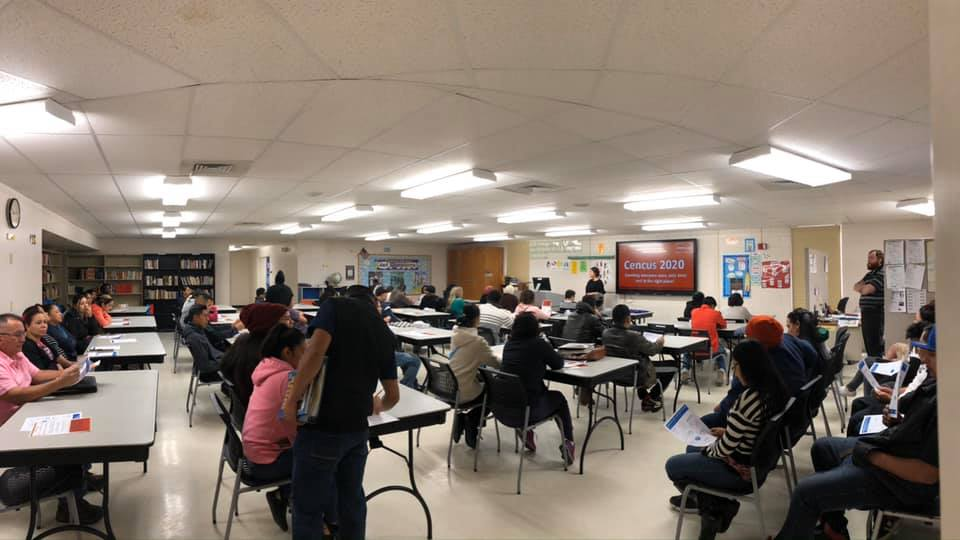The Dodge City-Ford County Complete Count Committee educates community members about the 2020 Census at the Dodge City Community College Adult Learning Center during a November 2019 meeting. More than 50 students were in attendance. (Kansas Appleseed)