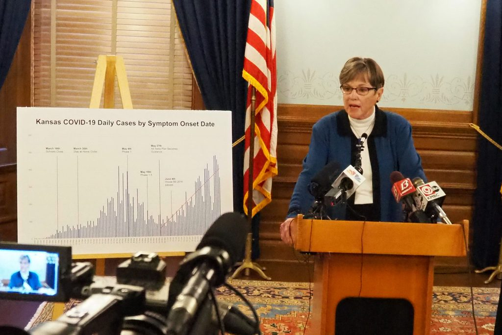 Gov. Laura Kelly said Monday she supported allocation of $60 million in federal funding for expansion of broadband services in Kansas and would endorse additional spending to help with education, business and health care services tied to the internet. (Sherman Smith/Kansas Reflector)