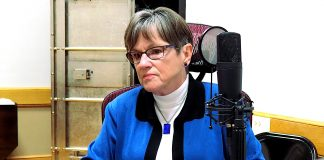 Gov. Laura Kelly announced distribution of $1.8 million in federal grants to nearly two dozen Kansas agencies working to improve public safety and reduce crime. (Sherman Smith/Kansas Reflector)
