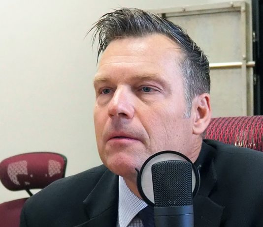 Kris Kobach appears for a recording of Kansas Reflector's podcast on July 20. (Sherman Smith/Kansas Reflector)