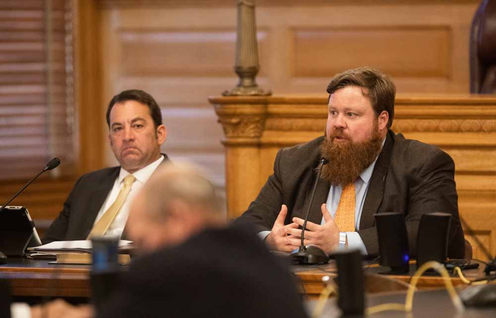 Rep. Troy Waymaster, left, a Republican from Bunker Hill, says the COVID-19 pandemic will erode casino and lottery revenue relied on by the state government to invest in economic development programs. (Nick Krug for Kansas Reflector)
