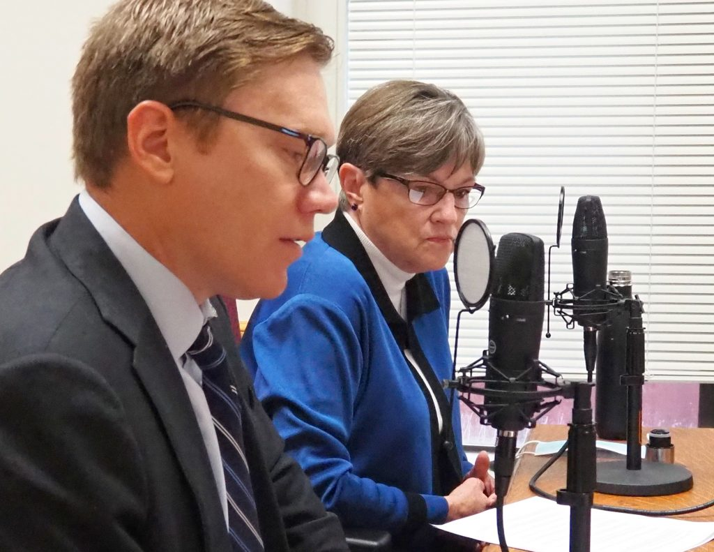 Gov. Laura Kelly and David Toland, secretary of the Kansas Department of Commerce, are working to develop a low-cost alternative to the Main Street program helping to revitalize downtown areas in rural communities. (Sherman Smith/Kansas Reflector)