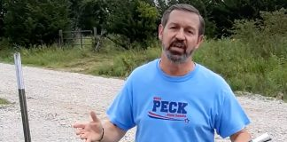 Virgil Peck, as he appears in a campaign video on his Facebook page.