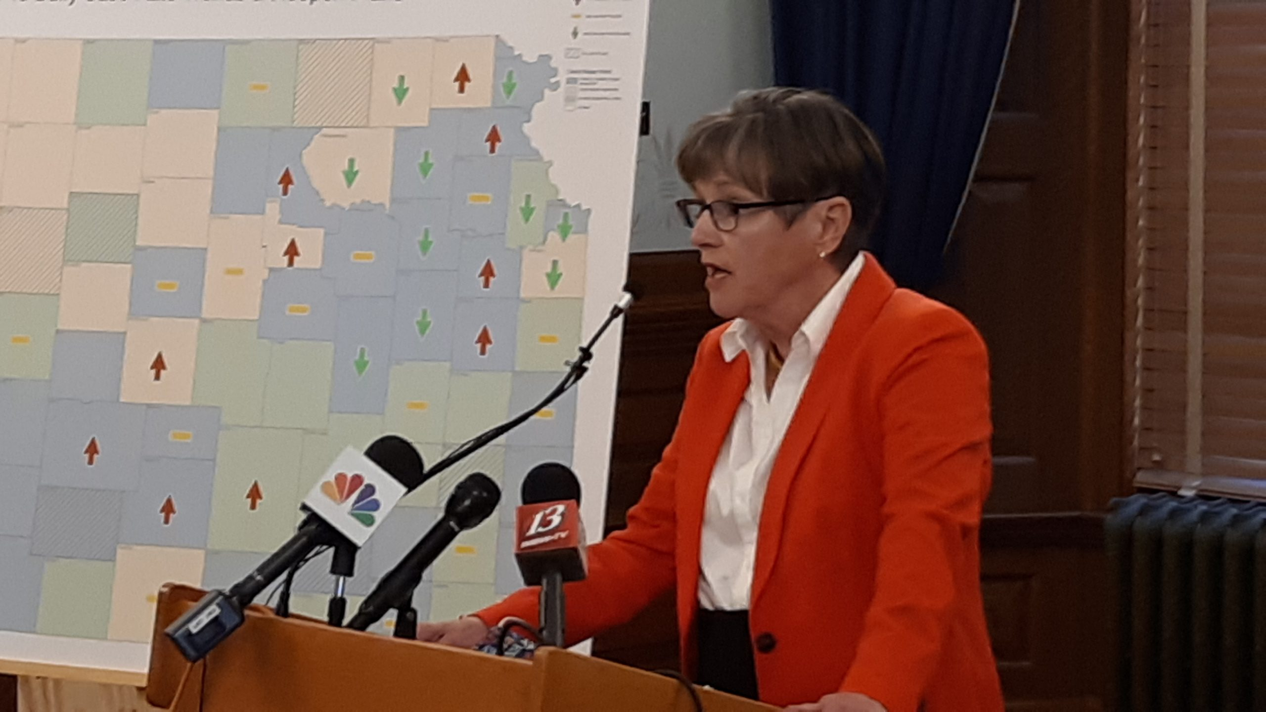 Gov. Laura Kelly says passage by Missouri voters of Medicaid expansion leaves Kansas in a five-state group with Colorado, Nebraska and Oklahoma still resisting a federal program extending health care to low- and moderate-income people. (Tim Carpenter/Kansas Reflector)