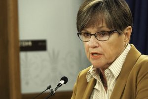 Gov. Laura Kelly announces Monday during a briefing at the Statehouse that she is again appointing federal public defender Carl Folsom to fill a vacancy on the Kansas Court of Appeals. (Sherman Smith/Kansas Reflector)