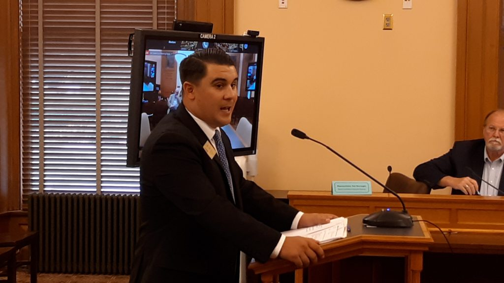 Alex Orel, a lobbyist with the Kansas Bankers Association, told a joint House and Senate economic recovery committee that COVID-19 added stress to Main Street businesses and the agriculture sector. (Tim Carpenter/Kansas Reflector)
