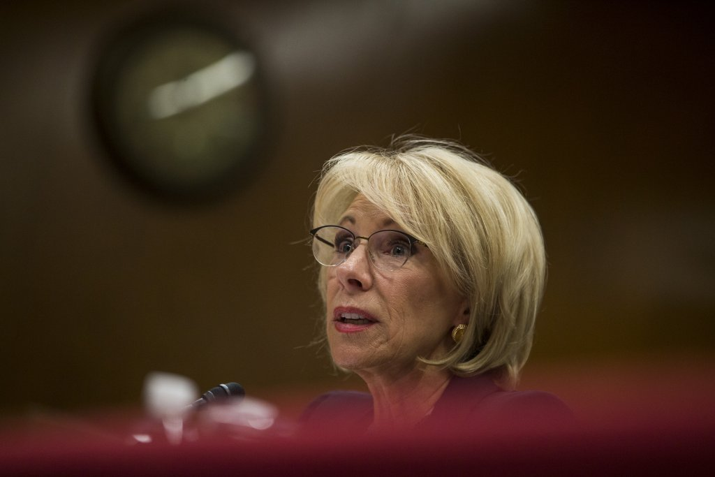 Advocates say Title IX changes announced by U.S. Department of Education secretary Betsy Devos creates hurdles for survivors who report sexual assault to campus authorities. (March 28, 2019, photo by Zach Gibson/Getty Images)