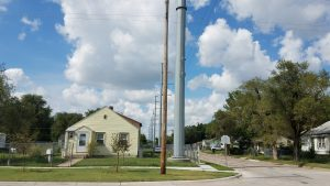 """The neighborhood Rep. Gail Finney represents in Wichita looks much different after Evergy installed giant new utility poles. Finney's proposed legislation, which would have required public input on such a project, was """"gutted"""" and replaced with other legislation, during the 2020 session. (Submitted)"""