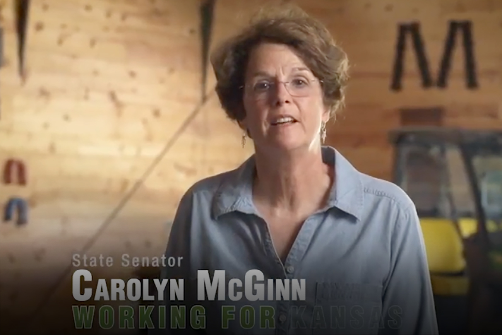 Sen. Carolyn McGinn, in a July 2020 campaign ad, plans to seek selection by Republican colleagues to the leadership position of Senate majority leader. The Sedgwick farmer is chair of the Senate's budget committee. (Submitted)