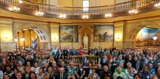 Kansans held a climate rally on WEALTH (Water, Energy, Air, Land, Transportation and Health) Day at the Kansas Capitol in February 2020. (Submitted by the Climate + Energy Project to Kansas Reflector)