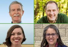 Salina Republican Tracey Mann, upper right, defeated Bill Clifford, of Garden City, in the 1st District primary Tuesday, while Garden City Democrat Kali Barnett, lower left, prevailed in a primary campaign against Christy Cauble Davis, of Cottonwood Falls. (Submitted/Kansas Reflector)
