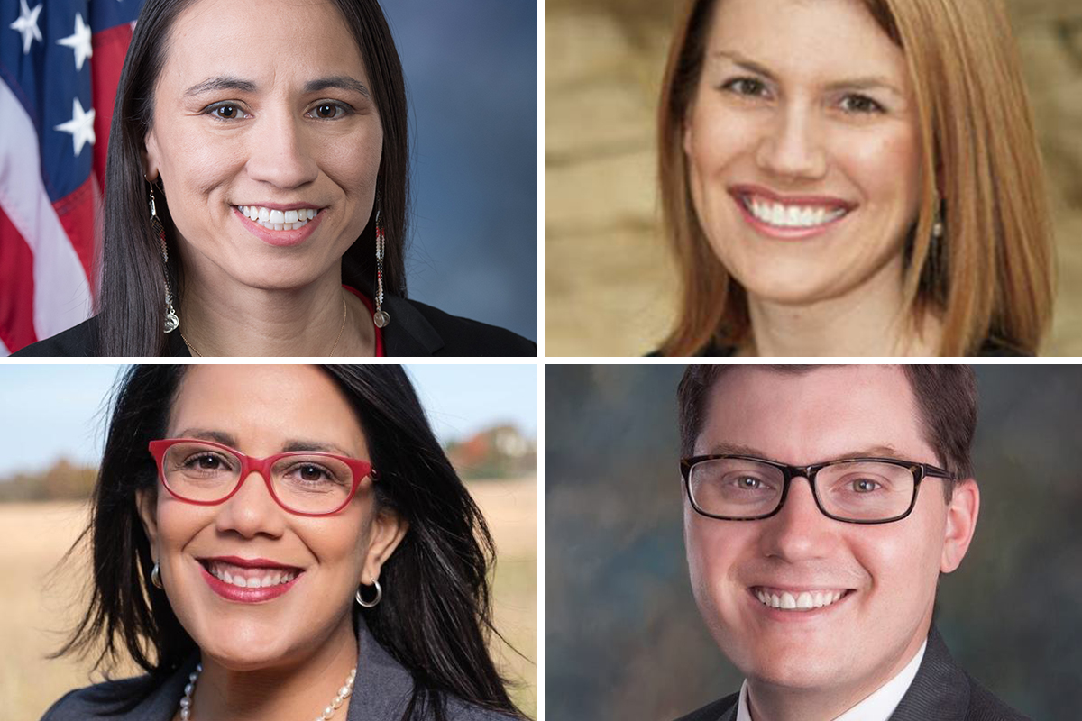 Clockwise from top left: Democratic U.S. Rep. Sharice Davids faces Republican Amanda Adkins in the 3rd District, and Republican state Treasurer Jake LaTurner faces Democratic Topeka Mayor Michelle De La Isla in the 2nd District. (Submitted/Kansas Reflector)