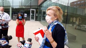 Gov. Laura Kelly said she appreciated comments by Deborah Birx, the White House coronavirus task force coordinator made Saturday in Kansas City, Kan., that wearing of a mask was pivotal to deflect the brunt of rising incidence of COVID-19. (Tim Carpenter/Kansas Reflector)