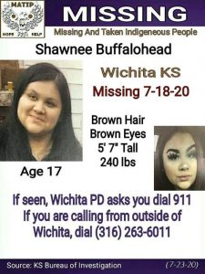 Shawnee Buffalohead, a 17-year-old Wichita girl who has been missing since July 18, is one of 15 active cases currently monitored by Missing and Murdered Native Americans across the United States. (Submitted to Kansas Reflector)