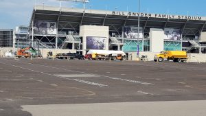 The Kansas State University football program plans to host fans — a fraction of the normal crowd — for the September home opener. The University of Kansas is banning fans for its first game in September. (Tim Carpenter/Kansas Reflector)