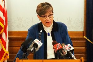 Gov. Laura Kelly says she prefers Kansas adopt a sports gambling bill that grants the Kansas Lottery the authority to operate for the first time internet lottery gaming. (Sherman Smith/Kansas Reflector)