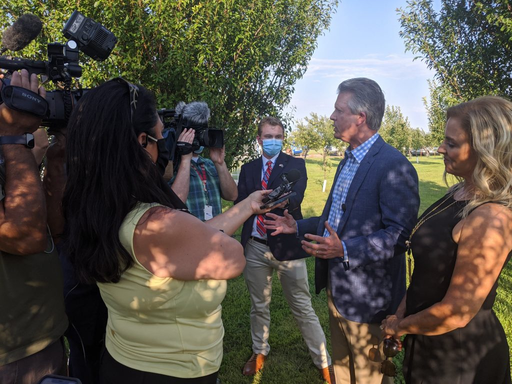 U.S. Rep. Roger Marshall, right, the 1st District congressman and GOP nominee for U.S. Senate, welcomes President Donald Trump's latest executive orders in response to the COVID-19 pandemic . (Veronica Coons/Great Bend Tribune)