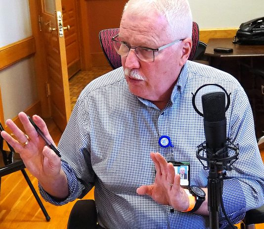 Kansas Department of Health and Environment secretary Lee Norman says during a recording of the Kansas Reflector podcast that he would prefer mask mandates to curtail the spread of COVID-19. (Sherman Smith/Kansas Reflector)