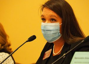 Rep. Stephanie Clayton, a Democrat from Johnson County, says her legislative colleagues should understand nuanced reasons a person might not accept a job offered during the pandemic, including the potential of catching COVID-19 and spreading it to family members. (Sherman Smith/Kansas Reflector)