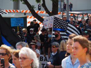 Back the Blue rally in downtown Topeka ahead of a special council meeting to discuss potential police reform. (Sherman Smith/Kansas Reflector)