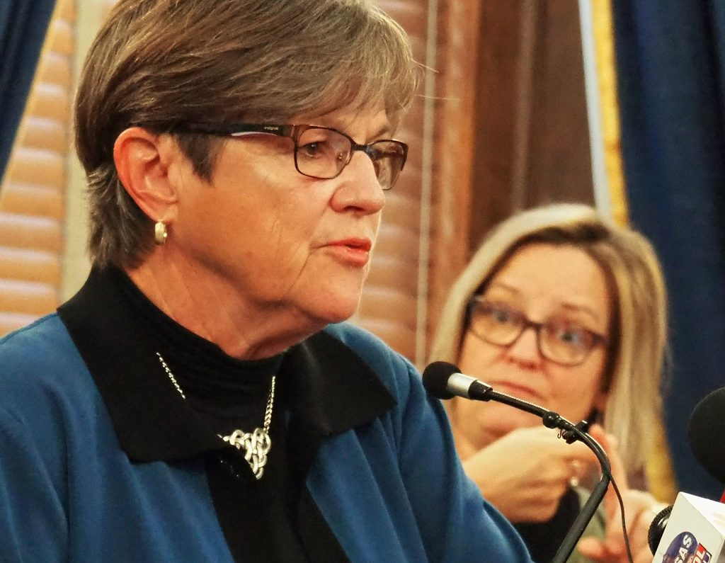 Gov. Laura Kelly declined to accept demands of Republican legislators to insert language into the statewide COVID-19 disaster declartion that she wouldn't close businesses in the next 30 days in response to the pandemic. Kelly is asking the State Finance Council to approve a 30-day extension of the disaster declaration. (Sherman Smith/Kansas Reflector)