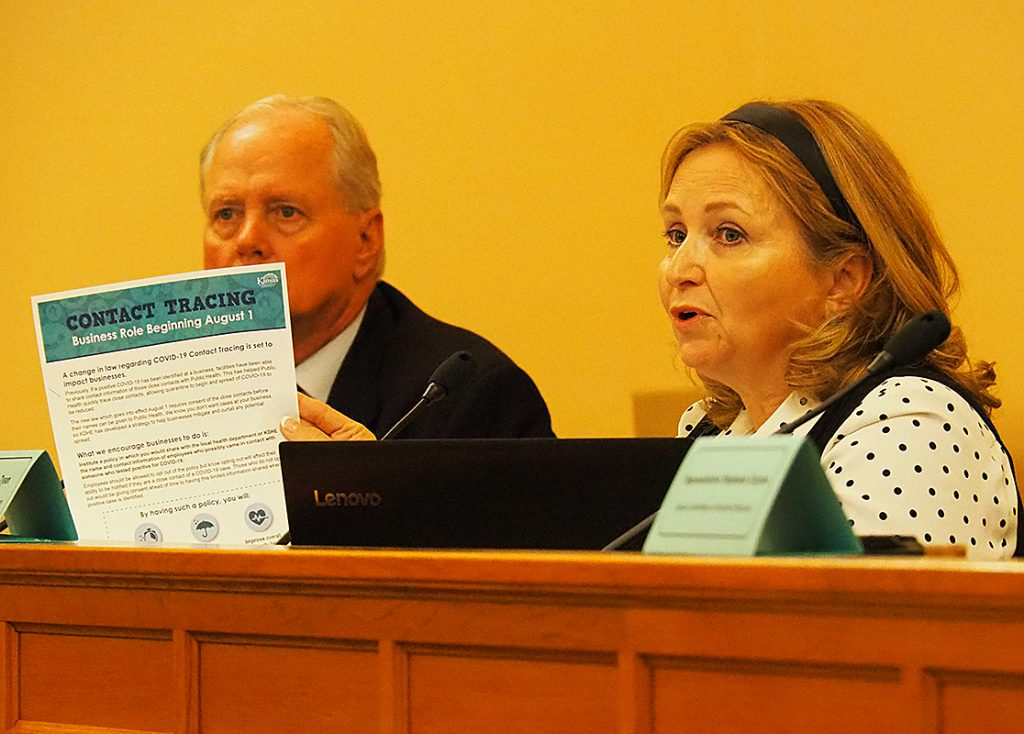 State Sen. Caryn Tyson, a Parker Republican and member of a COVID-19 economic recovery committee, says the one-page handout from the Kansas Department of Health and Environment improperly implies that businesses and people must cooperate with contact tracing by state or county health agencies. (Sherman Smith/Kansas Reflector)
