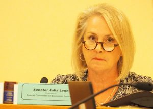 Sen. Julia Lynn, a Johnson County Republican and chair of a legislative economic recovery committee, said Gov. Laura Kelly's decision to close K-12 schools and issue a stay-at-home order came with grave economic consequences. (Sherman Smith/Kansas Reflector)