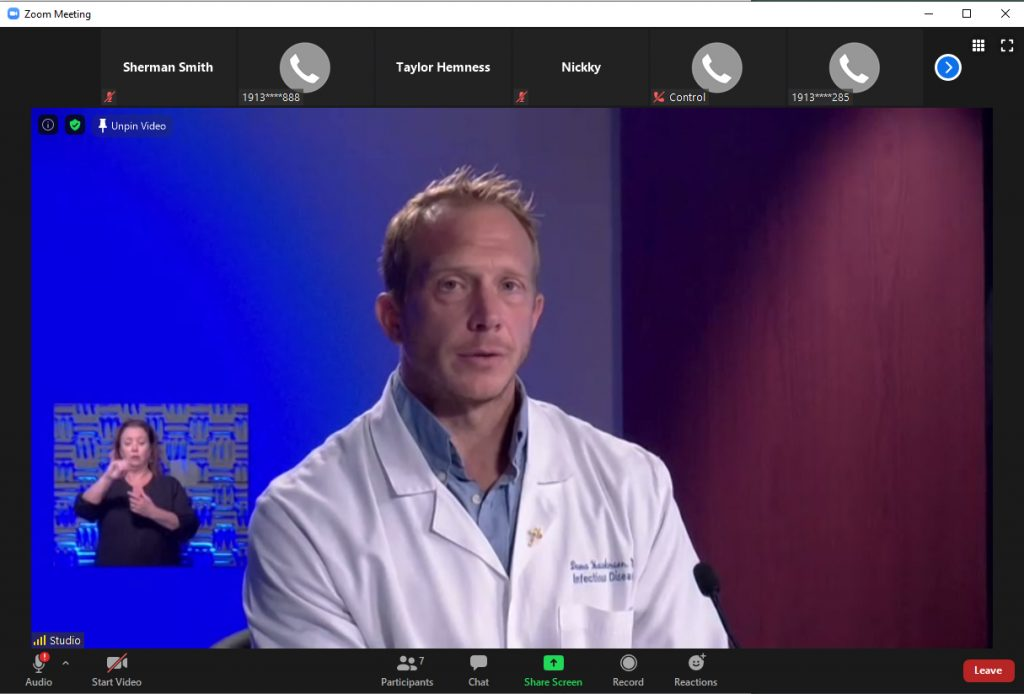 Dana Hawkinson, medical director of infection prevention and control at the University of Kansas Health System, answers questions during a virtual media briefing Friday. (Screenshot by Sherman Smith/Kansas Reflector)