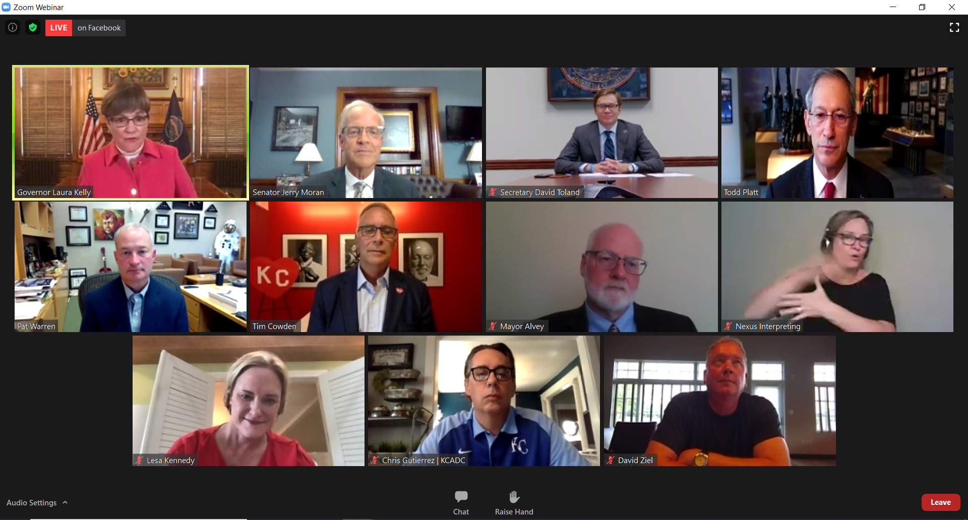 Gov. Laura Kelly, U.S. Sen. Jerry Moran and other public and business leaders discuss details of the Urban Outfitters investment during a virtual news conference Wednesday. (Screenshot/Kansas Reflector)