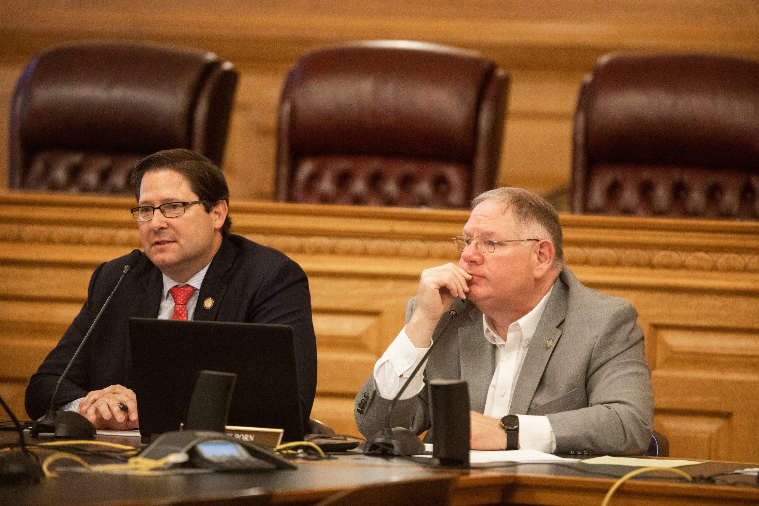 House Speaker Ron Ryckman, left, and Majority Leader Dan Hawkins endorsed the Legislative Coordinating Council's push to develop a plan to thwart potential spread at the Capitol of COVID-19 before start of the 2021 legislative session Jan. 11. (Nick Krug/Kansas Reflector)