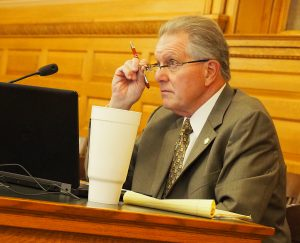 Sen. Mike Thompson, a Shawnee Republican, said he was concerned that wearing a mask makes people more likely to get COVID-19 and that state health officials are unnecessarily scaring people about the threat of coronavirus. (Sherman Smith/Kansas Reflector)