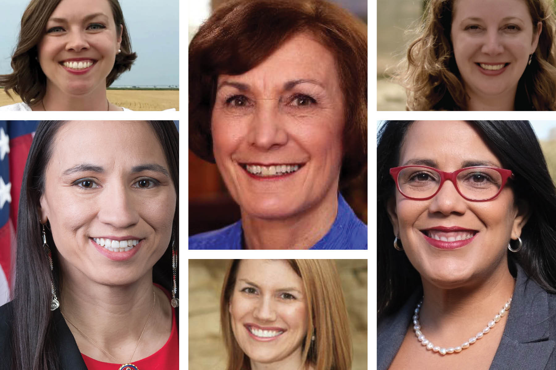For the first time ever, there will be a woman on the ballot in every congressional race in Kansas. Clockwise from bottom left: Rep. Sharice Davids, Kali Barnett, state Sen. Barbara Bollier, Laura Lombard, Topeka Mayor Michelle De La Isla, all Democrats, and Republican Amanda Adkins. (Composite by Kansas Reflector)