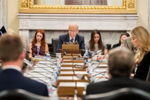 U.S. Sen. Pat Roberts, the Kansas Republican who declined to seek re-election in 2020, chairs a March meeting in Washington, D.C., on agriculture policy. He says raw partisanship, the river of campaign dollars and erosion of personal relationships among House and Senate members damages the federal government's ability to resolve difficult public policy issues. (Submitted/Kansas Reflector)