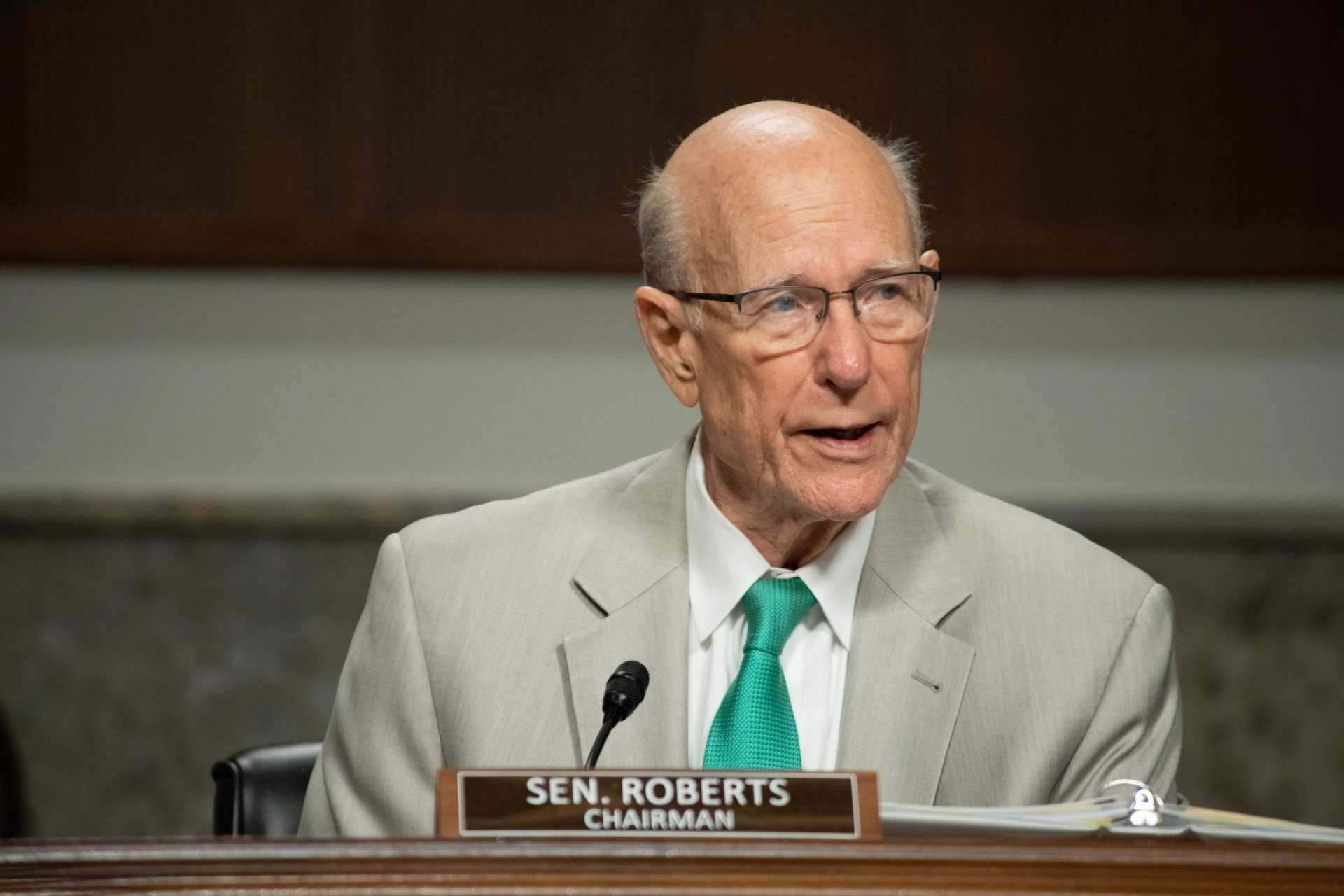 U.S. Sens. Pat Roberts and Jerry Moran, Kansas Republicans, joined with former U.S. Sen. Robert Dole to endorse GOP U.S. Rep. Roger Marshall for Roberts' seat in the U.S. Senate. (Submitted/Kansas Reflector)