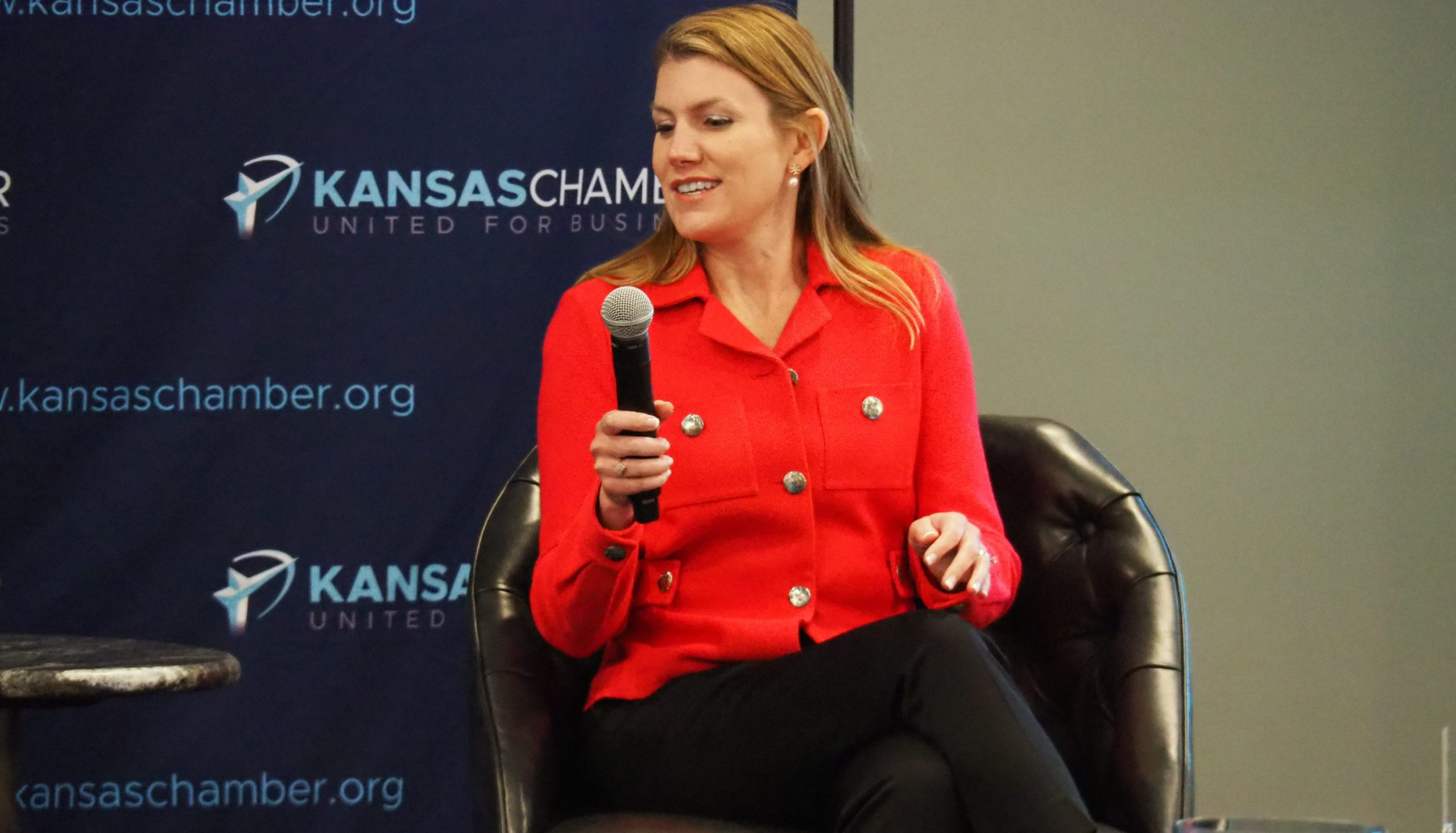 Republican congressional candidate Amanda Adkins' spokesman Tuesday rejected validity of a complaint filed with the Federal Elections Commission alleging Adkins violated federal law by raising thousands of dollars before formally establishing her candidacy. (Tim Carpenter/Kansas Reflector)