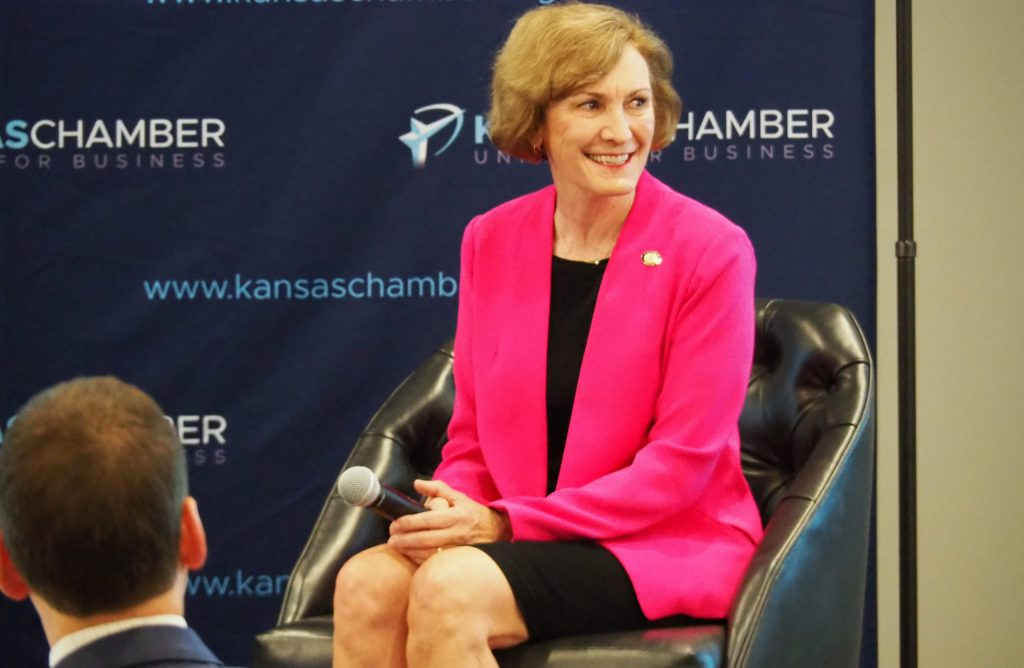 Democratic U.S. Senate candidate Barbara Bollier reported raising $13.5 million in the third quarter for the largest single-quarter fundraising total of any candidate in Kansas history. She is running for the open seat in Kansas against GOP nominee Roger Marshall. (Tim Carpenter/Kansas Reflector)