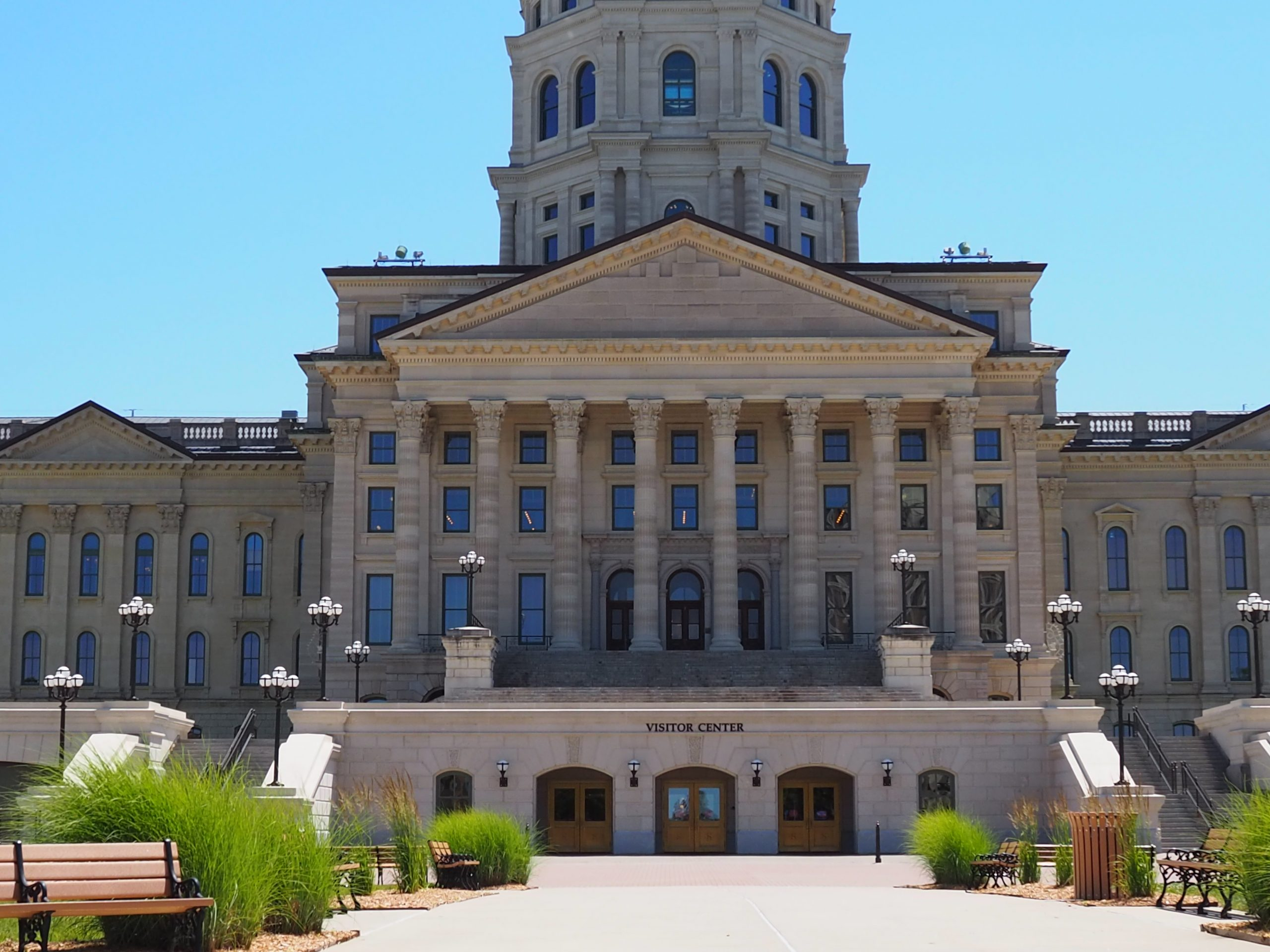 Gov. Laura Kelly said access to the Kansas Capitol will be limited and state workers at three office buildings near the Capitol will be asked to work remotely Tuesday and Wednesday. (Sherman Smith/Kansas Reflector)