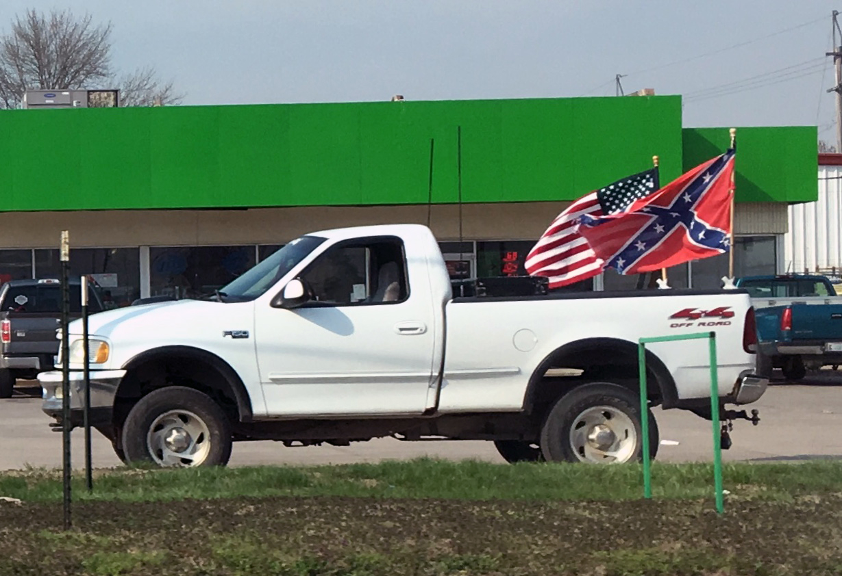 Kansas' Confederate flag fliers say, 'Honk if you love hate'