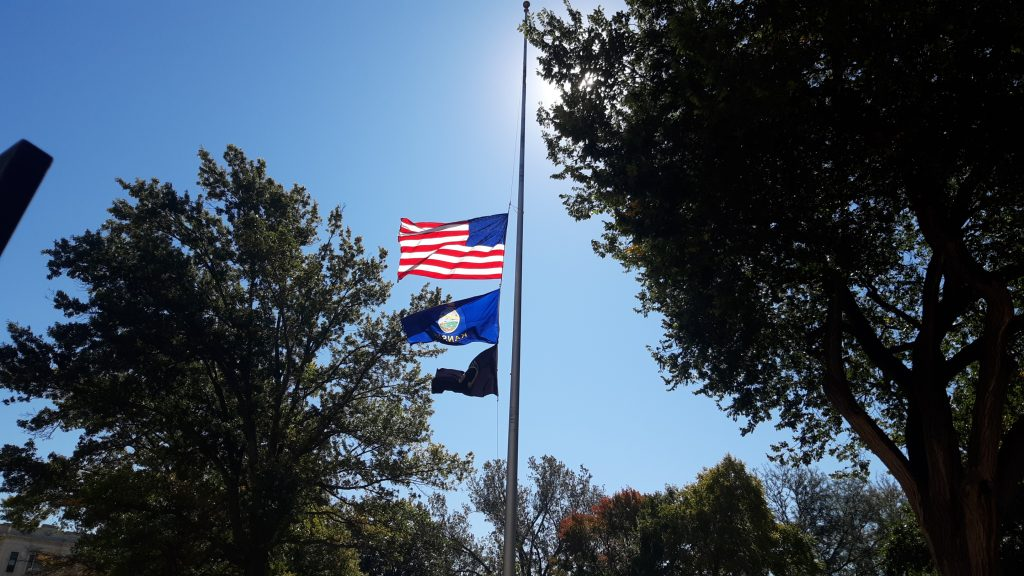 Gov. Laura Kelly issued an executive order directing that flags be flow at half-staff in honor of lives lost Sept. 11, 2001, when terrorists hijacked four commercial aircraft and caused the death of nearly 3,000 people in New York, Virginia and Pennsylvania. (Submitted/Kansas Reflector)