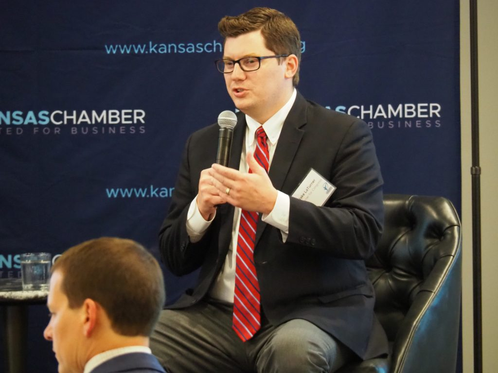 U.S. Rep. Jake LaTurner, the 2nd District Republican, said businesses in Kansas were having difficulty filling job vacancies because the COVID-19 federal unemployment benefit of $300 weekly was a disincentive for people to return to work. (Tim Carpenter/Kansas Reflector)