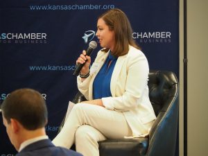 """Democratic candidate Kali Barnett, who is running for the 1st District U.S. House seat against Republican Tracey Mann, said: """"Any suggestion that another choice besides peaceful transferal of power exists should be a cause for alarm for all Americans regardless of party."""" (Tim Carpenter/Kansas Reflector)"""