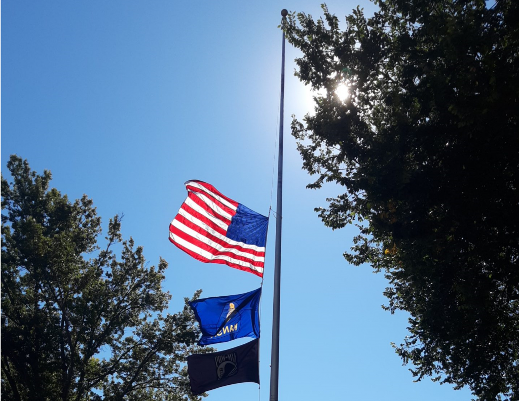 Gov. Laura Kelly directed flags in Kansas be flown at half-staff until sundown Monday in honor U.S. military personnel killed in a suicide bombing attack at the airport in Kabul, Afghanistan. (Tim Carpenter/Kansas Reflector)