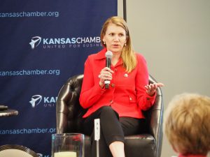 Republican Amanda Adkins, who is challenging U.S. Rep. Sharice Davids in the 3rd District, believes the U.S. economy paid a heavy price when public health experts and government officials mistakenly left out business operators from discussions about responding to COVID-19. (Tim Carpenter/Kansas Reflector)