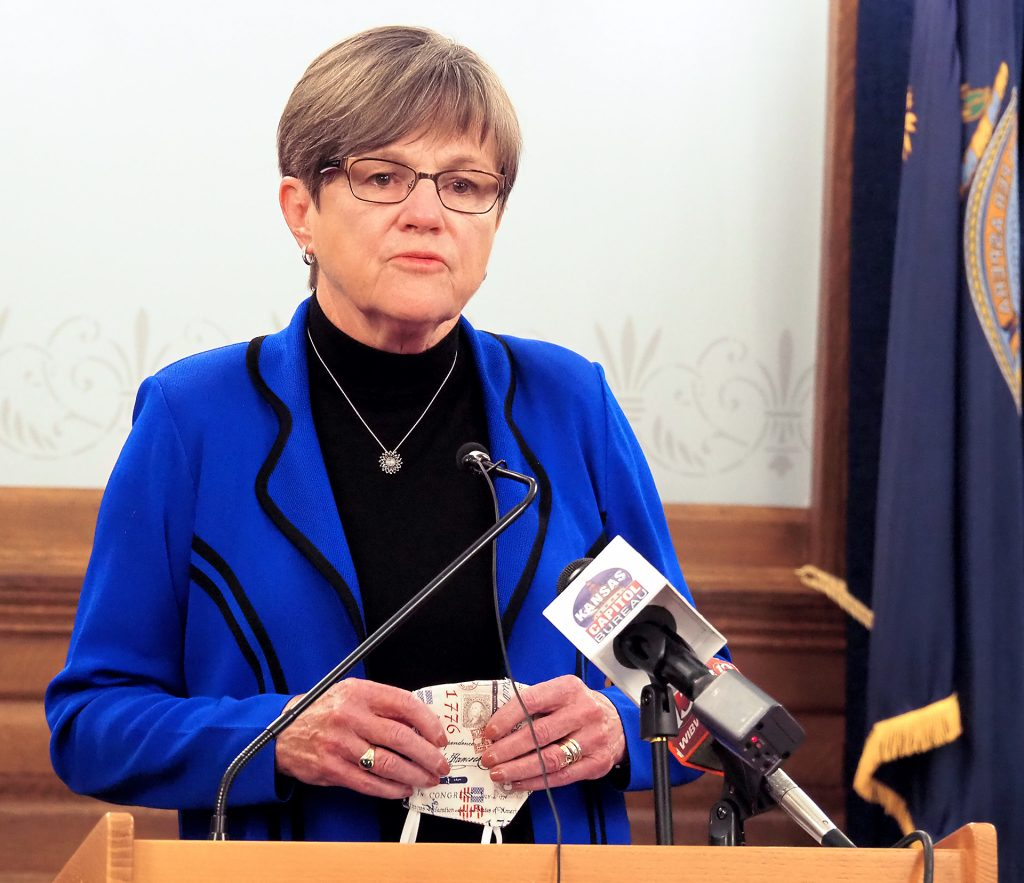 Kansas Gov. Laura Kelly says October tax revenue more than $60 million above estimates don't negate potential of a revenue shortfall and the need of the federal government to approve a relief package for financially struggling states. (Sherman Smith/Kansas Reflector)