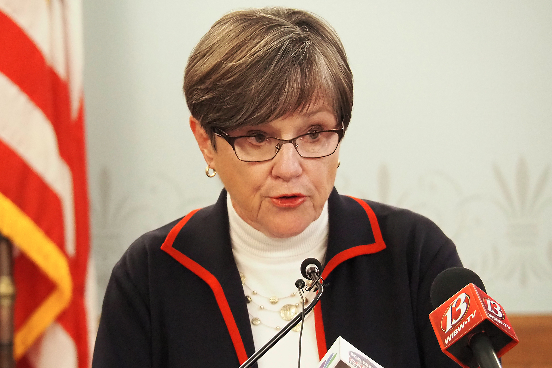 Gov. Laura Kelly said the $108 million in unexpected state tax revenue during the first quarter of the current fiscal year doesn't alleviate the need to be frugal in anticipation of future budget problems exacerbated by COVID-19. (Sherman Smith/Kansas Reflector)
