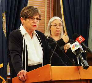 Gov. Laura Kelly said a nonpartisan commission should be appointed to handle redrawing of political boundaries for legislative, congressional and state education board districts rather than leave the work to the Legislature and governor. (Sherman Smith/Kansas Reflector)