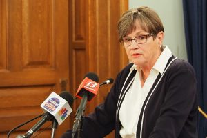 Gov. Laura Kelly, a Democrat who took office in January 2019, hopes that after the November election members of both political parties can work more closely together on economic and health policy in response to the COVID-19 pandemic. (Sherman Smith/Kansas Reflector)